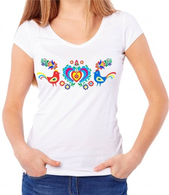 Women's T-shirt - Folk pattern birds