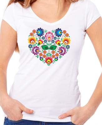 Women's T-shirt - Color Folk pattern heart