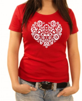 Women's T-shirt - Folk pattern heart