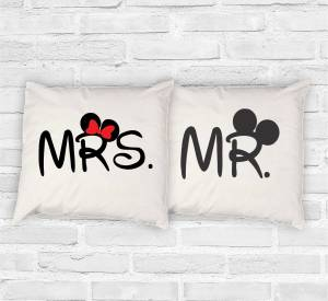 Set of 2pcs Pillowcases - Mr. - Mrs.  Mickey