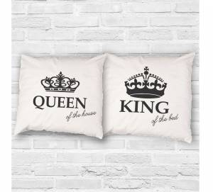 Set of 2pcs Pillowcases - KING of the bed and QUEEN of the house